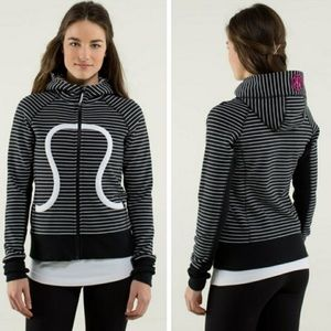 Lululemon black scuba hoodie brisk bloom stripe